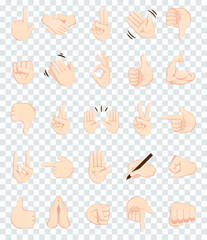 Hand gesture emojis icons collection. Handshake, biceps, applause, thumb, peace, rock on, ok, folder hands gesturing. Set of different emoticon hands isolated on transparent background vector.