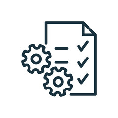 Clipboard or Checklist and Gear Line Icon. Technical Check List Linear Pictogram. Project Management, Software Development Outline Icon. Editable Stroke. Isolated Vector Illustration