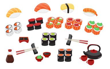 Fototapeta Sushi pieces collection. Fresh maki rolls pieces with rice and nori. Realistic sushi set. obraz