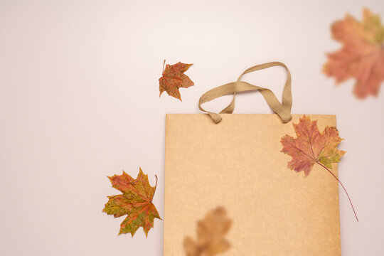 Empty paper shopping bag and fallen autumn leaves on light background. Seasonal Autumn Sale Concept