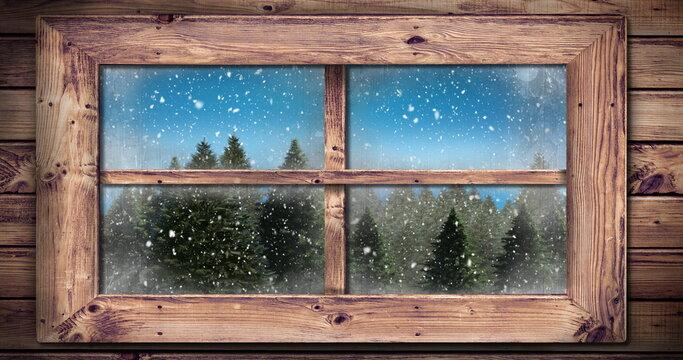 Winter scenery seen through window 4k