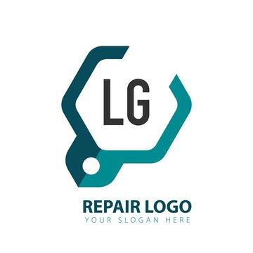 Initial Letter LG mobile repair service logo design template. Mobile repair logo concept. Commercial repair logo