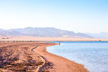 Nabq coast in the north of Sharm El Sheikh, with views across the Aqaba Gulf, South Sinai, Egypt,