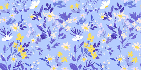 Beautiful floral seamless pattern with lemon yellow flowers, forest grasses, leaves on a light blue-purple background. Wild flowers perfect template for prints, fabrics, wallpapers, covers… Vector