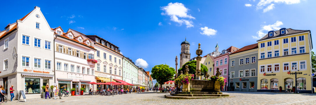 Weilheim, Germany - June 22: historic buildings at the old town of Weilheim in Oberbayern on June 22, 2021
