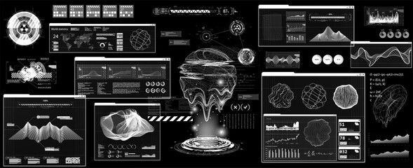 Futuristic User Interface with Head Up Display - HUD. Futuristic dashboard interface for UI, UX, GUI. Scifi callouts titles and windows frame in HUD style. 3D Hologram geometric shapes. Vector FUI