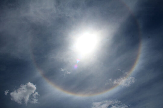 Solar halo in the celestial sky, partly cloudy.