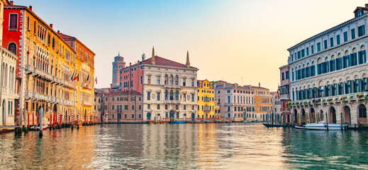 Panorama of Grand Canal in Venice at sunset, Italy