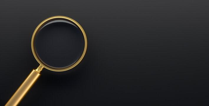 Golden magnifying glass on dark background - 3D illustration