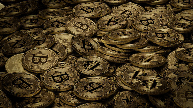Bitcoin Cryptocurrency represented as Gold Coins. Future Finance Wallpaper. 3D Render.