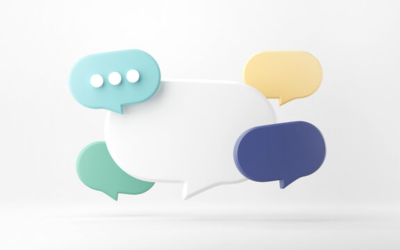 Blank bubble talk or comment sign symbol on yellow background. 3d render.