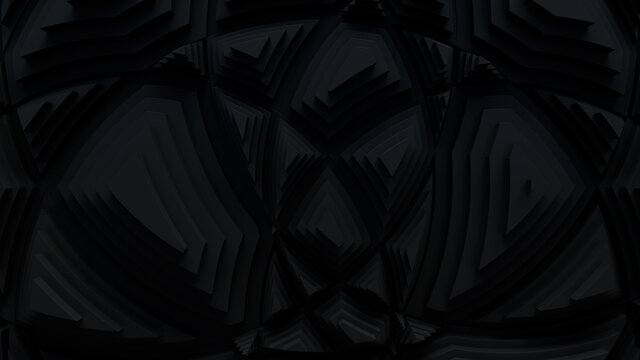 Black, Tech Background with a Geometric 3D Structure. Dark, Stepped design with Extruded Futuristic Forms. 3D Render.