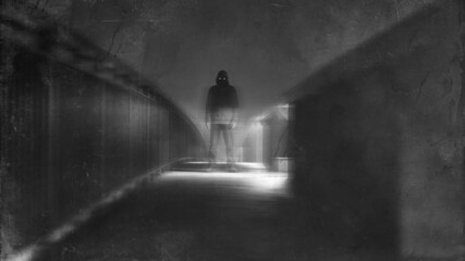 A scary figure with glowing eyes standing on a bridge at night. With a blurred, grunge, textured edit.