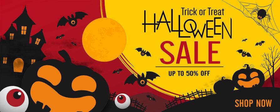 halloween sale banner vector design. halloween pumpkins on dark background for greeting card, banner, poster,blog, article, social media, marketing