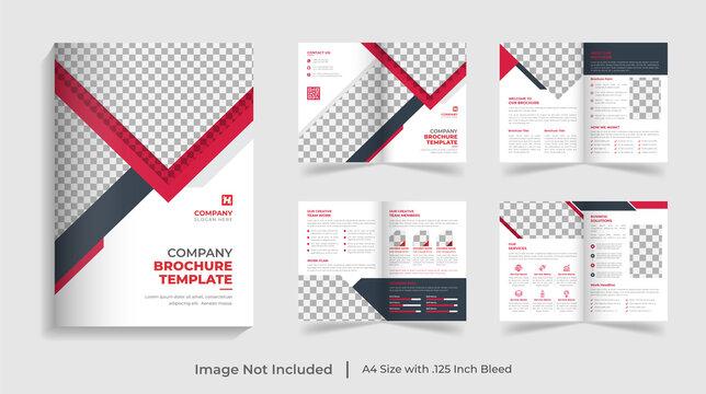 Corporate modern bi fold brochure template and company profile with creative shapes annual report design ,Multipurpose editable template