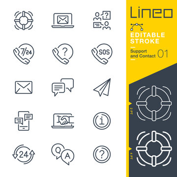 Lineo Editable Stroke - Contact and Support line icons