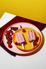 Dairy Free Chocolate Raspberry Icepops