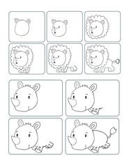 Cute Safari Animals How to Draw Worksheet Vector Illustration Art