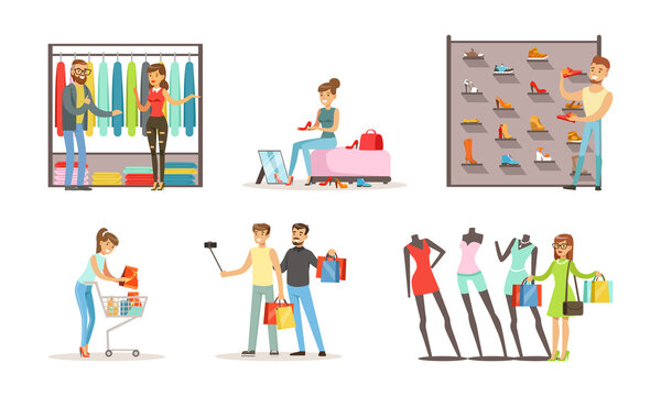People Shopping for Clothes in Clothing Store or Boutique Set, Women and Men Trying on and Choosing Apparel and Shoes Cartoon Vector Illustration