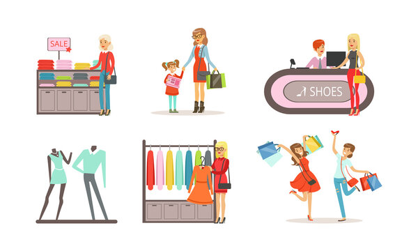 People Shopping for Clothes in Shopping Center Set, Women, Men and Kids Choosing Apparel Cartoon Vector Illustration