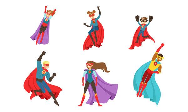 Superhero Characters Set, Brave Superman and Superwoman Characters Cartoon Vector Illustration