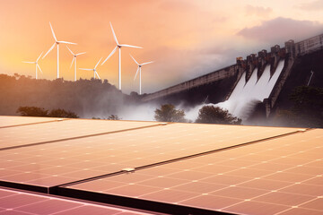 Electricity from solar panels, dams, and wind turbines. Environmentally-friendly renewable energy concept.