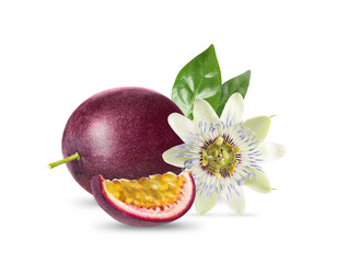 Delicious ripe passion fruits, flower and green leaves on white background
