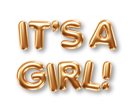 Phrase Its A Girl gold foil balloons isolated on white background. Vector illustration