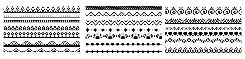 Fototapeta large collection of seamlessly tiling border. Decorative seamless borders vintage design elements set. element, border, frame, brush, filigree, invitation, ornament, ornamental, ornate, classic, art. obraz