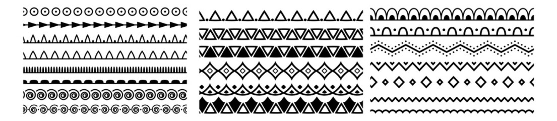 Fototapeta Ornamental border frame patterns page decoration vector. Decorative seamless borders vintage design elements set. border, frame, element, elegance, elegant, filigree, flourish, graphic, greeting. obraz