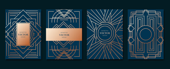 Gold and Luxury Invitation card design vector. Abstract geometry frame and Art deco pattern background. Use for wedding invitation, cover, VIP card, print, poster and wallpaper. Vector illustration.
