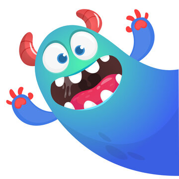 Funny cartoon smiling monster character. Illustration of cute and happy mythical alien. Vector isolated