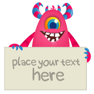 Funny cartoon monster character holding blank paper sheet or board for text. Illustration of happy alien creature. Halloween party design