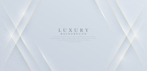 Luxury white abstract background with shiny golden line and shadow. Modern simple graphic texture element. Luxury and elegant pattern creative design. Suit for presentation, poster, flyer, cover