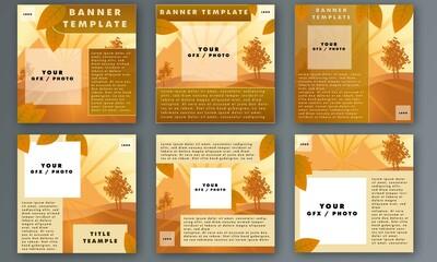 Web, Social Media Post Layouts with Autumn Motive