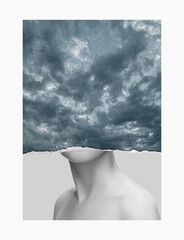 Minimalism, contemporary art collage. Inspiration, idea, trendy urban magazine style. Composition with woman and stormy sky with flashes of lightning