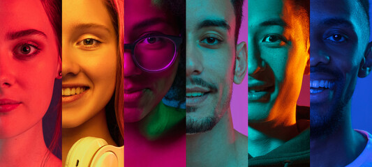 Obraz Cropped portraits of group of people on multicolored background in neon light. Collage made of 7 models - fototapety do salonu