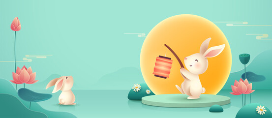 3D illustration of Mid Autumn Mooncake Festival theme with cute rabbit character on podium and paper graphic style of lotus lily pond. Wide copy space for design.