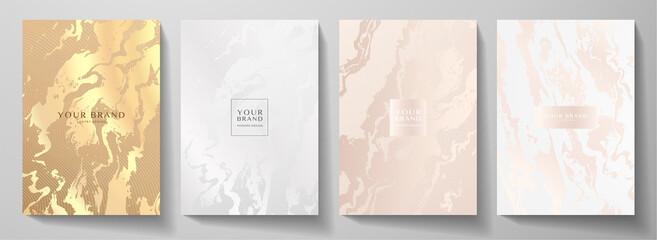 Obraz Modern elegant cover design set. Luxury fashionable background with light abstract marble pattern. Elite premium vector template for makeup catalog, brochure, flyer layout, presentation - fototapety do salonu