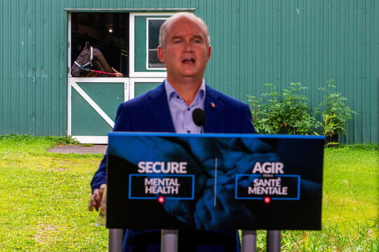 Conservative Party leader Erin O'Toole campaigns in Brantford, Ontario
