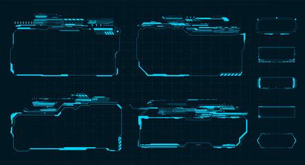 Sci Fi HUD modern futuristic user interface square Frames blocks Set.  High tech screen digital hologram window. Technology background with HUD dashboard interface. Vector illustration