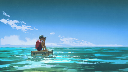 A boy with binoculars sits on a suitcase floating on the sea, digital art style, illustration painting