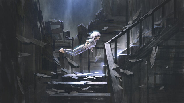young woman floating in the air in an abandoned house, digital art style, illustration painting
