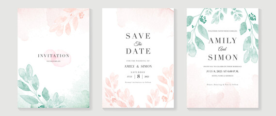 Luxury wedding invitation card background  with golden line art flower and botanical leaves, Organic shapes, Watercolor. Abstract art background vector design for wedding and vip cover template.