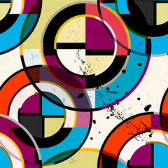 seamless geometric pattern background, retro, vintage style, with circles, paint strokes and splashes