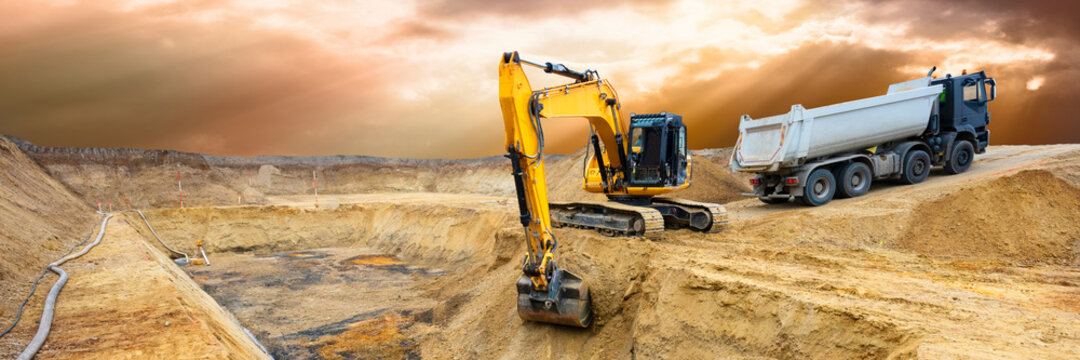 heavy excavator working at construction site
