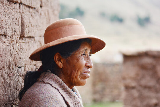 Native american old woman in the countryside.