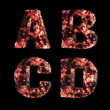 Hot lava capital letter alphabet - letters A-D