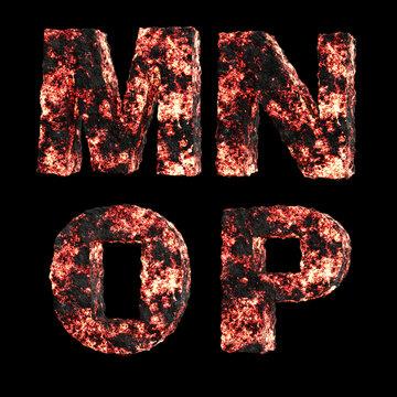 Hot lava capital letter alphabet - letters M-P