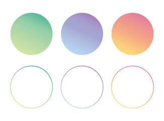 グラデーションの円形、丸型、テキストスペース、ポイント、ラベル、見出し背景のフレームイラストセット